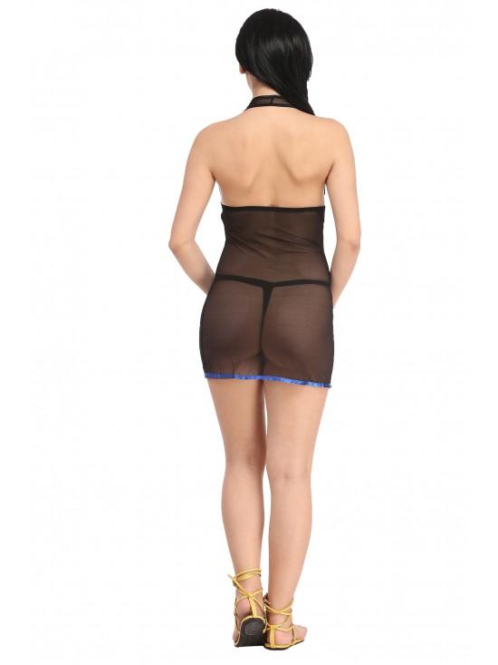 Deep V-Neck Bow Knot Black Sheer Mesh Chemise Nightwear with G-String-Sexy Nightwear   N-Gal